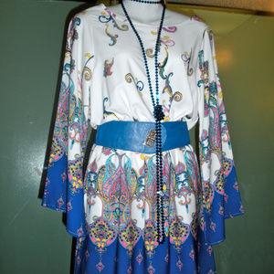 Royal Blue & White Bell-Sleeved Dress